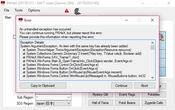 Trainer info error in latest version on pkhex? - Tapatalk