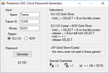 Screenshot for Pokemon GSC Clock Password Generator
