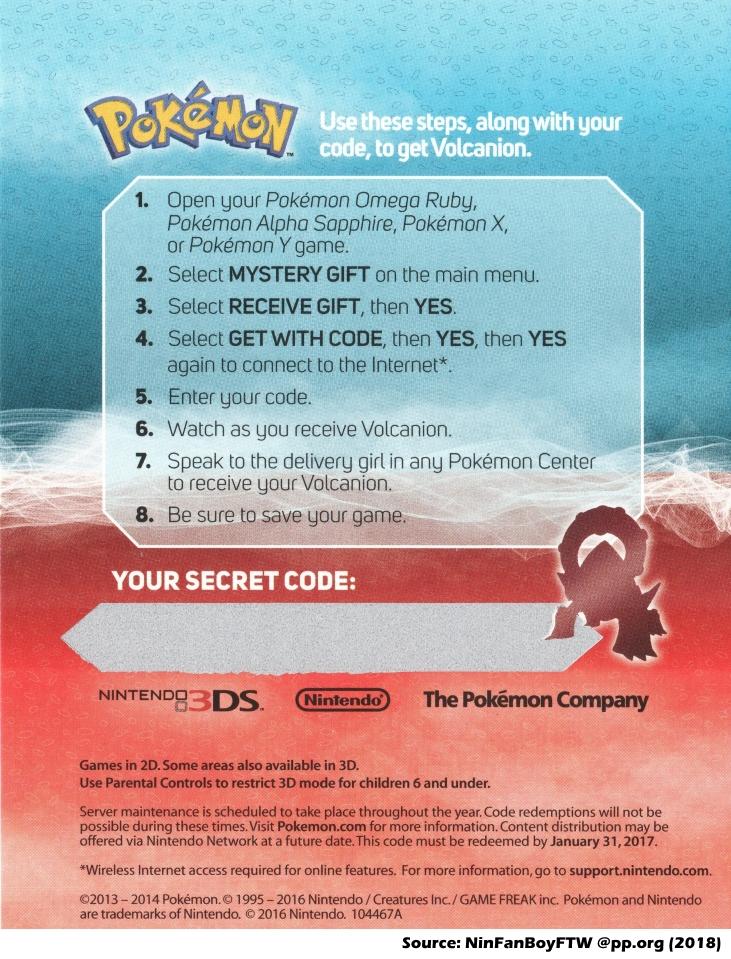 Pokemon volcanion code